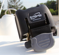 Close up view of BoatBuckle product sitting on a boat.