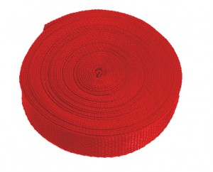 Polypropylene web in red is featured in a bulk roll.