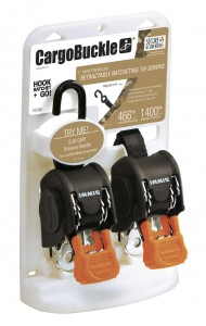 Photo of CargoBuckle 1 inch mini transom ratcheting tie-down in packaging.