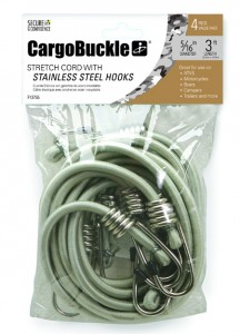 CargoBuckle stretch cord with stainless steel hooks featured in 4-pack.