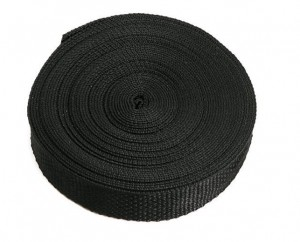 Polypropylene web in black is featured in a bulk roll.
