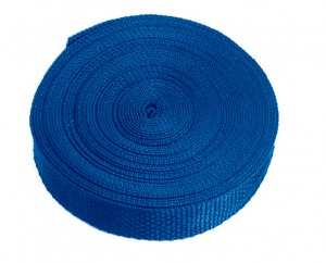 Polypropylene web in blue is featured in a bulk roll.