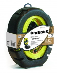 CargoBuckle heavy duty tow strap is featured in easy reel-and-store case.