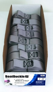 A box of BoatBuckle winch straps is featured for those interested in buying in bulk.